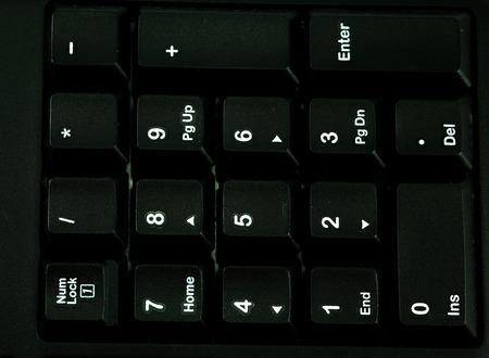 teclado numérico: Detail numeric keypad on the black computer keyboard Foto de archivo