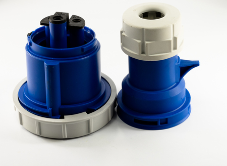 sockets: Electric plastic power plug and various sockets with cap isolated