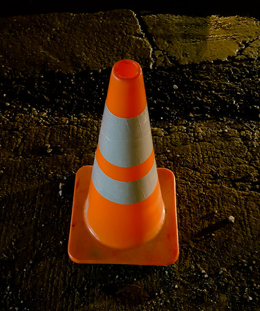 realistic striped traffic cone illustration Stock Photo