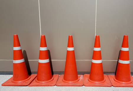 New traffic cone on the road Stock Photo