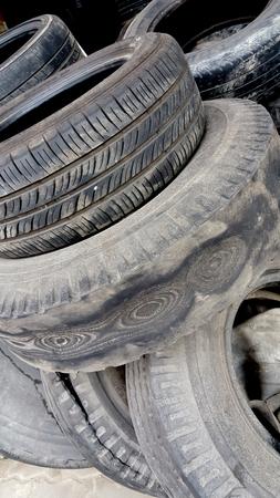 dirty car: dump the old car tires