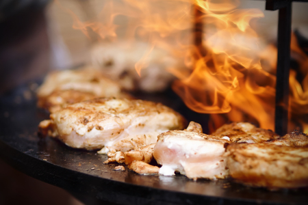 Fatty appetizing pieces of chicken, sprinkled with seasoning, are fried on an open fire in the open air in the summer. Фото со стока