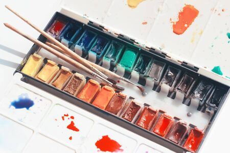 Set of watercolor paints in cuvettes of natural pigments in a plastic box with a palette and three brushes of different sizes.