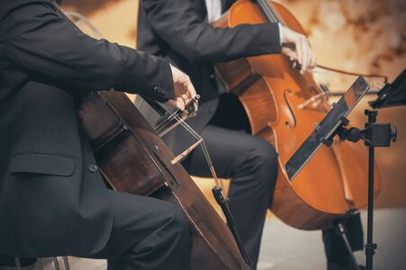 A Duo of two musicians in black suits who play the cellos with bows in the autumn.