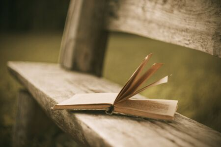 A forgotten open old book lies on a wooden bench cracked with time in the Park in the evening.