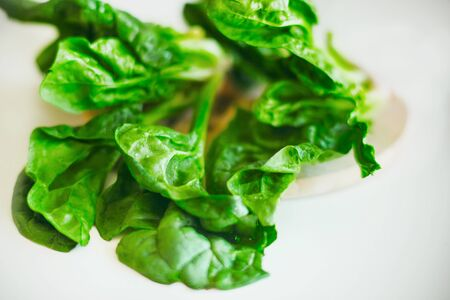 There are fresh spinach leaves on the white table in the kitchen. Ingredient for cooking. Useful vegetable for health.