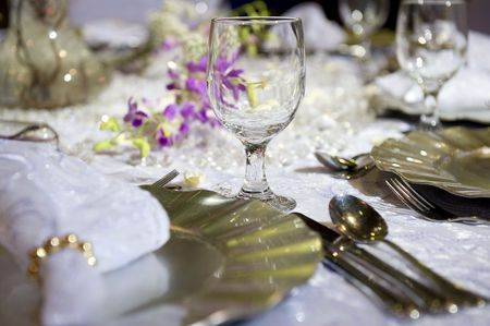 Soft  table settings for a , suitable for background of a menu, invitation or  brochure/magazine. Shallow DOF. Stock Photo - 3107635