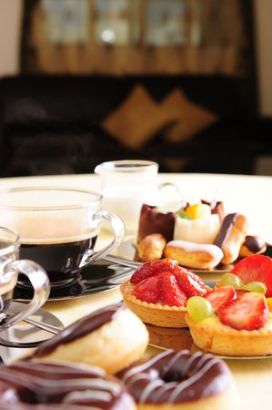 brewed: Freshly brewed coffee with a selection of cakes and confectionery.