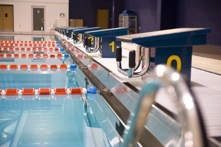 Olympic indoor swimming pool at an International sports venue in Doha, Qatar.  Possible venue for the 2016 Olympic Games. photo