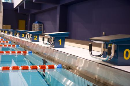sports competition indoor swimming pool at an International sports venue in Doha, Qatar.  Possible venue for the 2016 sports competition Games. Stock Photo - 3128266