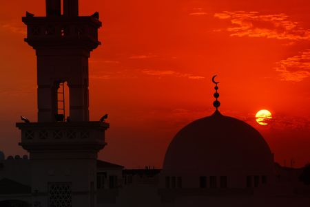 Mosque in sunset Stock Photo