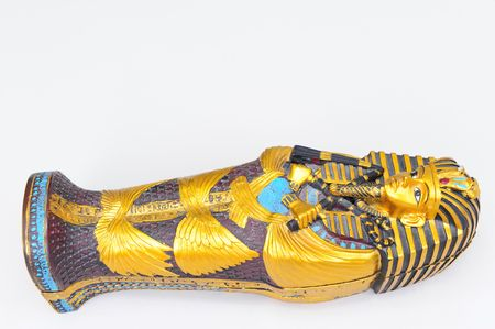 A replica of Tuthankamens sarcophagus.  Painted in the original colors.