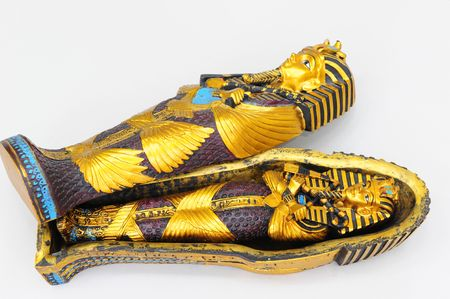 queen nefertiti: A replica of Tuthankamens sarcophagus.  Painted in the original colors.