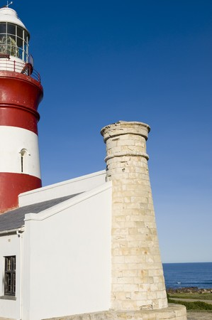 nautical structure: The second oldest and Southern-most lighthouse in Africa at Cape Aghullas, built in 1848. A small piece of the Indian ocean is visible to the right.