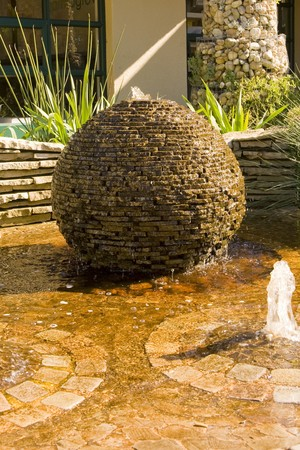 water feature: A beautiful water feature in a public garden. Stock Photo
