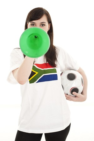 Young football fans supporting their teams wearing South Africa shirts. photo