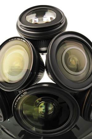 Camera and lens collection taken with fisheye lens. photo
