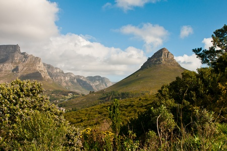 Lions Head to the right of Table Mountain in Cape Town. photo