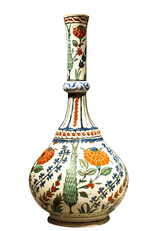 artifacts: Late 16th century ornate water bottle from Turkey, isolated on white.