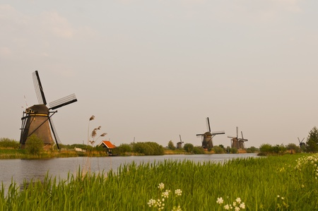 Windmills in the evening sunset after the rain. Stock Photo - 9535300