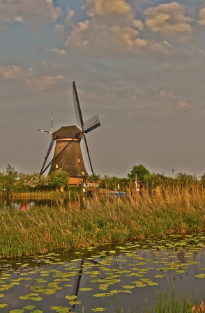 Artistic HDR image of windmills in the evening sunset after the rain. Stock Photo - 9535344