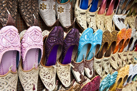 souk: Rows of colorful shoes at the market in Dubai.