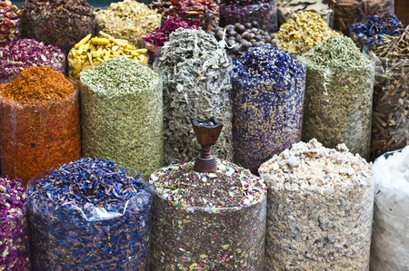 A colorful variety of dry incense for sale at the Dubai traditional market. photo