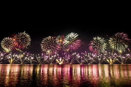 DOHA-DEC 18: Qatar National Day is celebrated with a spectacular fireworks display on Dec 18, 2011 in Doha, Qatar. photo