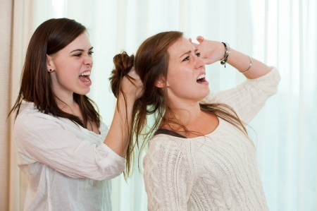Sisters having an argument and getting physical with a fight  Stock Photo