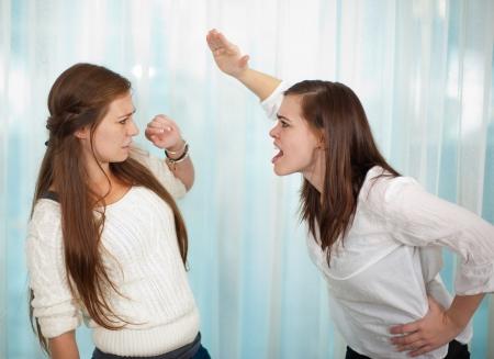 conflictos sociales: Hermanas que tiene un argumento y conseguir f�sico con una pelea