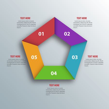 Abstract 3D Paper Infographics. Pentagon shape.  Vector