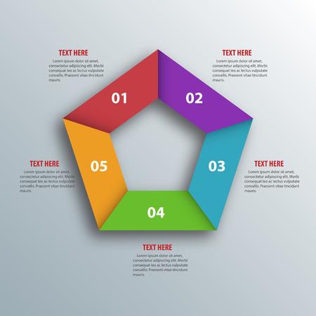 pentagon: Abstract 3D Paper Infographics. Pentagon shape.  Illustration