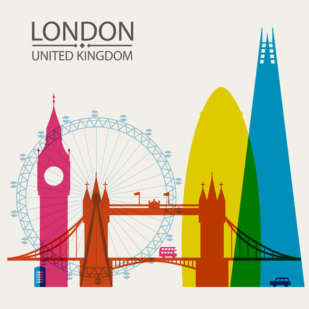 gherkin: London city skyline silhouette background, vector illustration