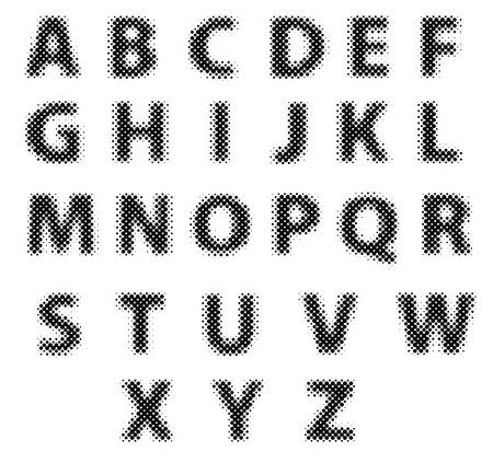 moire: Vector raster polka dot spotted alphabet letters
