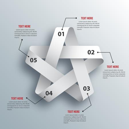 抽象的な 3 D ペーパー インフォ グラフィック スター形ベクトル イラスト