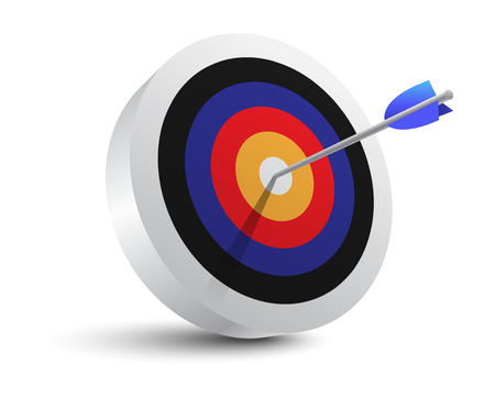 three points: Target aim and arrow  Successful shoot  Vector Illustration
