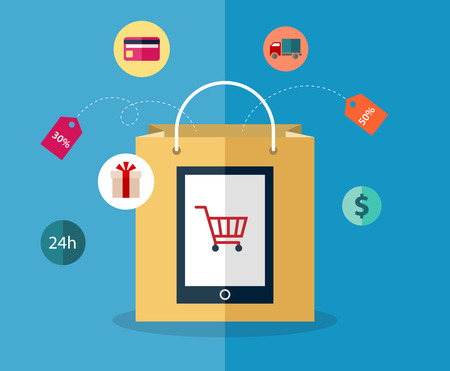 Infographics background E-commerce. Business concept. Set icons Vector
