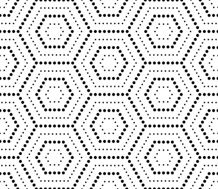hexagonal pattern: Hexagons texture with dots. Seamless vector geometric pattern