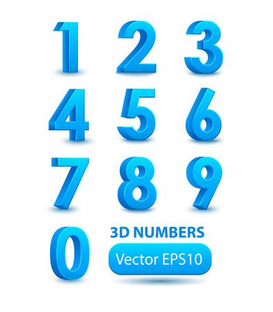 Blue 3d numbers. Vector set.
