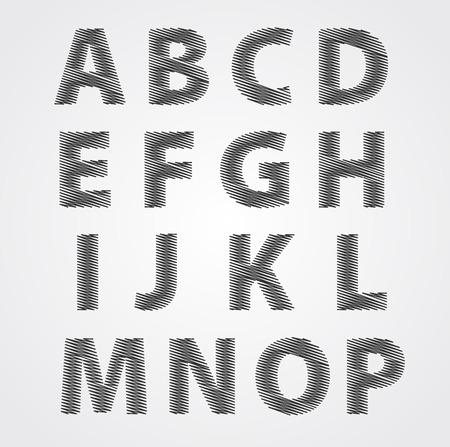 Vector illustration of a sketched alphabet doodles