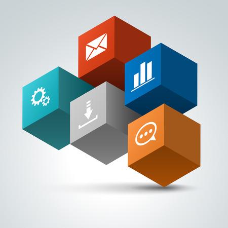 Infographics options design elements. Vector icons. 3d cubes.
