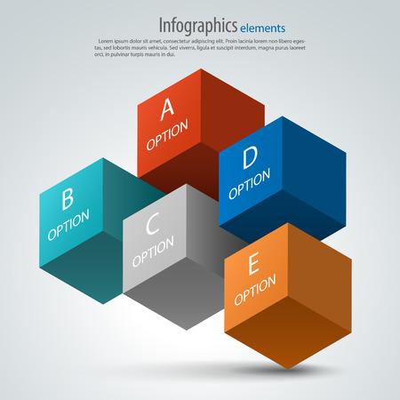 Infographics options design elements. 3d vector cubes. Ilustrace