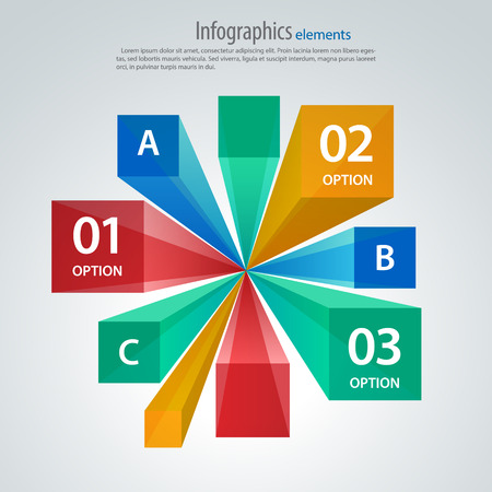 Vector infographic template, cubes and rays