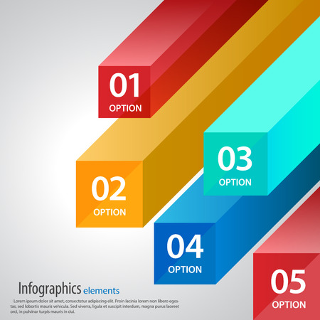 infographic template, cubes and rays
