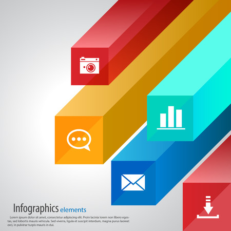 Vector infographic template, cubes,  rays, icons Ilustrace