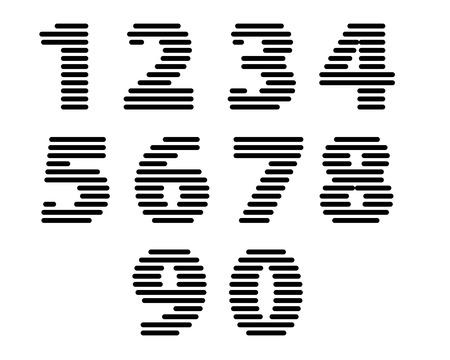 Retro stripes funky numbers set, bold version, trendy elegant retro style design. Vector.