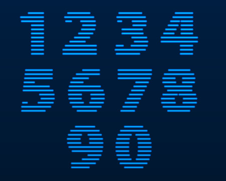 Neon numbers. Color depends on the color of the background.