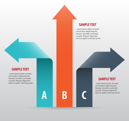 Abstract infographics with arrows and ribbons. Vector art