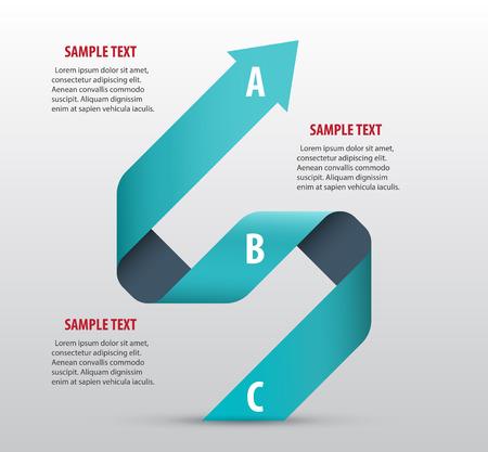 リボンと矢印の付いた抽象的なインフォ グラフィック。ベクター アート