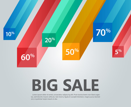 Vector infographic template, cubes,  rays, discounts. Big sale